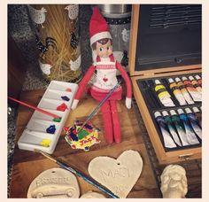 Elf on the shelf paint salt dough ornaments
