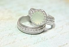 Vintage Style Chalcedony Wedding Ring Set - Eco Friendly Engraved Wedding Band & Engagement Ring - Alternative Diamond