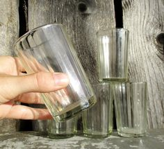 Russian Tea Glasses Faceted Vintage set of 5 USSR by MerilinsRetro