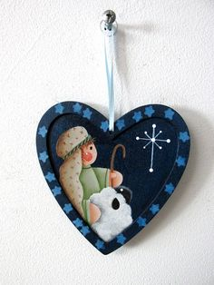 Shepard and Sheep Christmas Ornament Hand or Tole Painted
