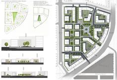 plantas e cortes Urban Design by Zuzanna Jędrzejewska, via Behance Urban Design Diagram, Urban Design Plan, Plan Design, New Urbanism, Landscape And Urbanism, Landscape Design, Urban Ideas, Planer Layout, Architecture Plan