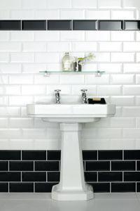 bathroom metro white and black tiles - Google Search