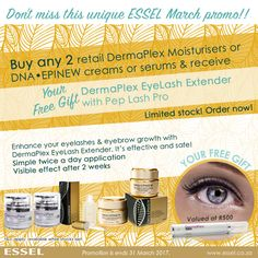 Essel March #Promotion: Buy any 2 retail DermaPlex Moisturisers or DNA•EPINEW creams or serums & receive DermaPlex EyeLash Extender with Pep Lash Pro #freegift