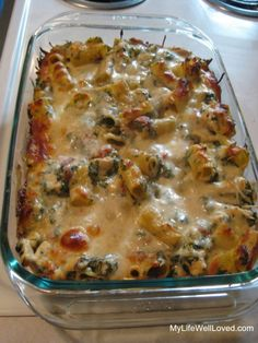 Chicken and spinach pasta bake.