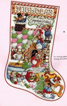 Crossstitch stocking - Christmas mice. Stocking Collection 2nd Edition - Donna Kooler Cross Stitch by Leisure Arts