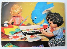 Vintage Dennis Dolls Postcard, Vintage Vinyl Dolls with paintobox and blue bunny   1+0.7