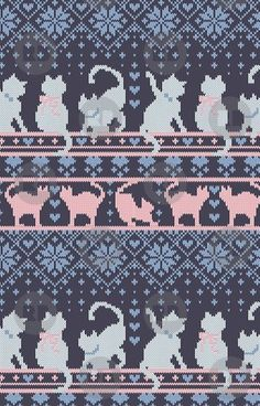 Fair Isle Knitting Cats Love // dark violet background white and violet kitties . - Fair Isle Knitting Cats Love // dark violet background white and violet kitties and details I - Fair Isle Knitting Patterns, Knitting Blogs, Knitting Charts, Knitting Stitches, Baby Knitting, Free Knitting, Knitting Projects, Double Knitting Patterns, Needlepoint Patterns