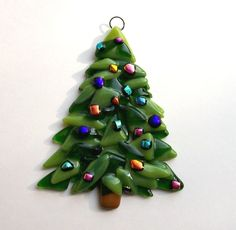 Fused Glass Christmas Ornament (Christmas Tree). $10.00, via Etsy.