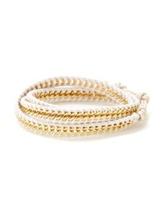 Leather & Gold Chain Wrap Bracelet