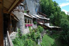Restaurant and chapel at the entry of Saint Beatus Caves, municipality of Beatenberg, canton of Bern, Switzerland
