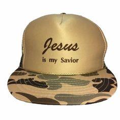 Jesus Is My Savior Trucker Hat Snapback Vintage Camo Pattern  Nissin   TruckerHat Camo Patterns 36f3f5176ec4