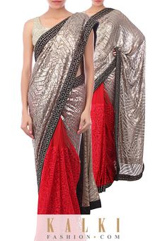 With the  metallic trend so much in-vogue, take your pick from our extremely chic and  trendy sarees. SKU: 267749.We ship worldwide ( Free shipping over USD$100). To buy this product, click on the following link - http://www.kalkifashion.com/half-andh-alf-saree-in-gold-and-red-adorn-in-sequin-and-thread-only-on-kalki.html