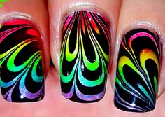 Rainbow Water Marble [no long nails]