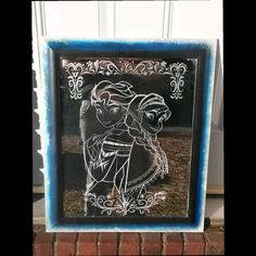 Frozen Hand Etched 16x20 wood framed mirror