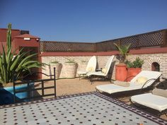 A roof top terrace on my lovely Airbnb Riad in Marrakech, Morocco.