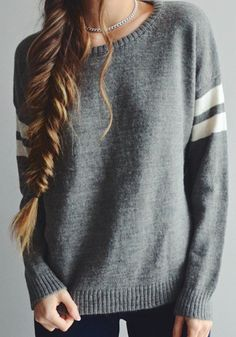 Sweater with a braid to the side. Perfect ensemble for staying warm and stylish in the fall. Also a very comfortable sweater to cozy up in.
