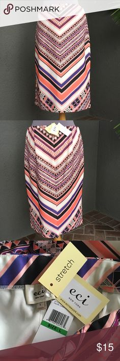 """ECI Slip On Stretch Skirt Size L with tags Gorgeous tribal patterned slip on stretch skirt from ECI -- still has tags! Size Large - laying flat, the waist is 16.5"""" , hips 21.5"""" , 26"""" from waist band top to hem bottom. Beautiful shades of purple, apricot, orange with black and white. ECI Skirts"""