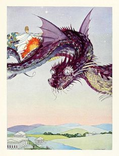 """She whipped up the snakes and ascended high over the city"" - Illustration from 'The Minotaur', Tanglewood Tales (Nathaniel Hawthorne) ~ Virginia Frances Sterrett, 1921 Art And Illustration, Book Illustrations, Watercolor Illustration, Kay Nielsen, French Fairy Tales, Dragons, Nathaniel Hawthorne, Fairytale Art, Framed Prints"
