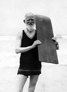 George Bernard Shaw, going surfing at the Muizenberg beach at the age of 75 taken in 1931