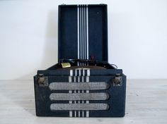 vintage black and white portable electric record player by epochco, $80.00