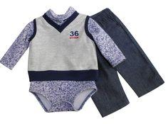Chaleco cuello V bordado, multiprenda manga larga cuello alto y pantalón de mezclilla. Tallas 3, 6, 12 y 18 meses.
