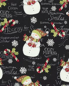 Hooray for Snow - Cozy Snowmen - Black