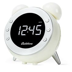 Electrohome Retro Alarm Clock Radio with Motion Activated Night Light and Snooze Digital AMFM Radio Wakeup Light Dual Alarm Auto Time Set Battery Backup Dimmer and Temperature Display CR35W -- Be sure to check out this awesome product.