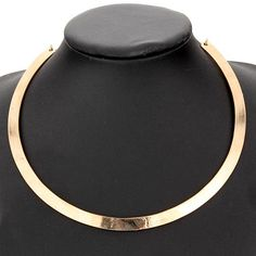 Punk Slim Curved Metal Bib Choker Collar Necklace Gold Silver Plated