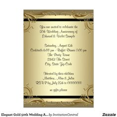 87 best gold wedding anniversary images on pinterest golden elegant gold 50th wedding anniversary party 5x7 paper invitation card stopboris Image collections