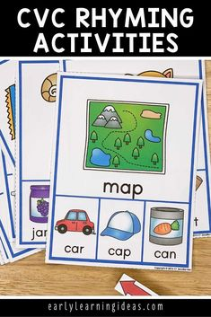 These rhyming clip cards will help your kids see and hear rhymes in simple CVC words. Kids love clipping clothespins on the rhyming words in this activity. Perfect for small group or independent activities in your preschool, pre-k, kindergarten, or SPED classroom, or at home. An engaging way to teach rhyming, early literacy concepts, and phonological awareness to young children. Word Family Activities, Rhyming Activities, Language Activities, Literacy Skills, Early Literacy, Literacy Centers, Phonemic Awareness Activities, Phonological Awareness, Homeschool Kindergarten
