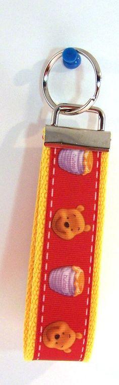 Winnie the Pooh  Key Fob Key Ring Wristlet by GabbysQuiltsNSupply, $5.00