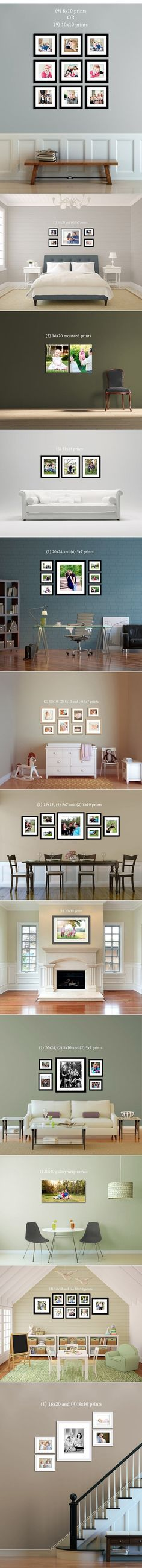 Great layouts to choose from! This requires planning to make sure your pictures are oriented just right to fit into the wall pattern. That is why an advanced planning session is necessary to make sure the colors, style, sizes, and orientation all work for your display place. Welker Photography includes a planning session in all of our regular photo sessions. http://www.welkerphotography.com Boise Idaho's favorite Family and High School Senior Pictures Photographers!