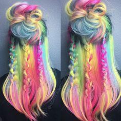 Tribal Rainbow vibes ⚡️🌈⚡️ @sandi_rose @brazilianbondbuilder @kenraprofessional @hairstyles @behindthechair_com #braids #hairstyle #haircolor #b3 #brazilianbondbuilder #hair #festivalhair #spacebuns #pastelhair #rainbowhair