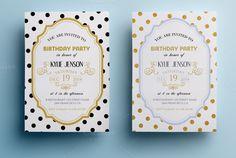 Elegant birthday party invitation II by annago on Creative Market