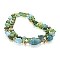 Verdura Byzantine Bead Necklace Blue-green Mozambique tourmaline, diamond and gold.