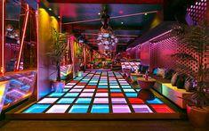 Disco Theme, Disco Party, Boutique Interior, Disco Floor, Nightclub Design, Disco Club, Roller Disco, Roller Rink, Club Lighting