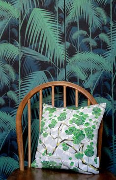 Luxury Green Grey Vintage Kimono Silk Pillow Cushion. Japanese, oriental, tropical, botanical. Cole and son, wallpaper, palm leaves, jungle, cherry blossom. home decor