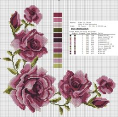 This Pin was discovered by Ilk Cross Stitch Rose, Cross Stitch Flowers, Cross Stitch Charts, Cross Stitch Designs, Cross Stitch Patterns, Cross Stitching, Cross Stitch Embroidery, Embroidery Patterns, Hand Embroidery