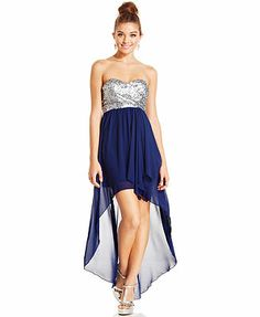 Sequin Hearts Juniors' Strapless Sequin High-Low Dress