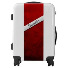 Elegant Ruby Red with Name Luggage - marble gifts style stylish nature unique personalize