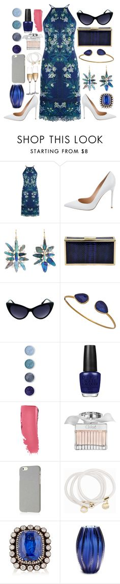"""Drinksare on the house"" by pulseofthematter ❤ liked on Polyvore featuring Karen Millen, Gianvito Rossi, Irene Neuwirth, La Regale, Janna Conner Designs, Terre Mère, OPI, Chanel, Chloé and Klix"
