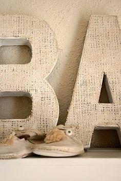 My initials.) The Virginia House: Burlap Letter Making Tutorial Burlap Projects, Burlap Crafts, Craft Projects, Craft Ideas, Knitting Projects, Crafts To Make, Fun Crafts, Arts And Crafts, Burlap Letter