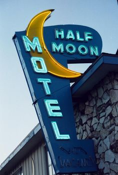 Half Moon Motel by Matthew Bamberg Monty Hall, Exterior Signage, Vintage Hotels, Hotel California, Hotel Motel, Photography For Sale, Moon Art, Sign Design, Historical Photos