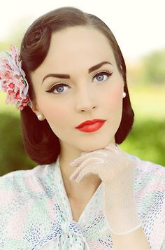 beautiful pin up makeup.....LOVE it. The bold lips and brows, liquid liner on top lid only and the flawless skin. Why can't we all just dress this way now!?