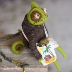 """""""Foreign tourists"""", felted chameleon toy – shop online on Livemaster with shipping"""