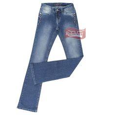 Calça Jeans Feminina Azul Boot Cut Destroyed - Tassa Gold 16119: Mulheres