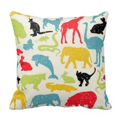 Cute Colorful Animals Kid's Room Throw Pillow | Boys Room Throw Pillows | Pretty Throw Pillows| On sale now with code: BIZCARDSALEZ