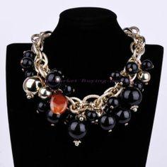 Fashion Gold Metal Chain Black Pearl Resin Cluster Bib Collar Statement Necklace | eBay