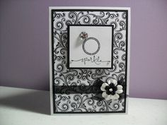 Handmade Engagement Card - Sparkle - Congratulations I love the black & white! It reminds me of the very striking Spanish embroidery style of Blackwork. Wedding Shower Cards, Wedding Cards, Engagement Cards, Engagement Ring, Wedding Congratulations Card, Scrapbook Cards, Scrapbooking, Wedding Anniversary Cards, Invitation Card Design