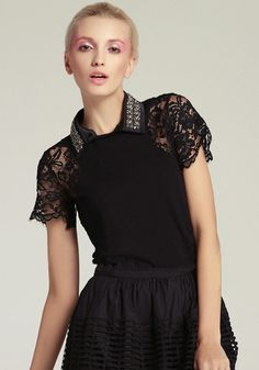 Black Detachable Beading Collar Contrast Lace Sleeve Top $75.41